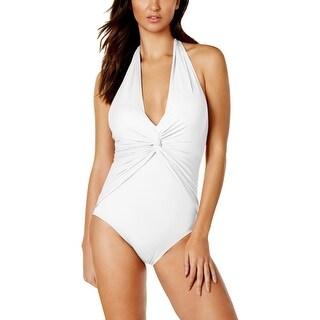 MICHAEL Michael Kors Womens Twist Front Halter One-Piece Swimsuit