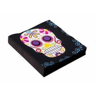 Day Of The Dead Napkins 16 Pack - Black
