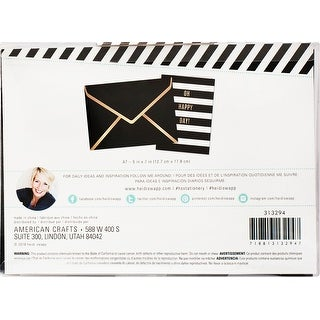 Heidi Swapp A7 Envelopes 4/Pkg-Black W/Gold Foil Edge