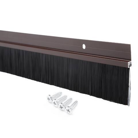 Door Bottom Sweep Brown Aluminum Alloy w 1.6-inch PP Brush 40-inch x 2.44-inch