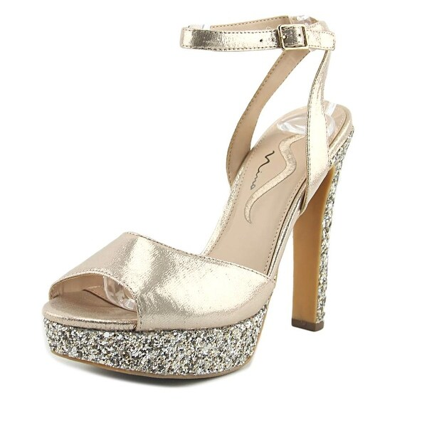 Nina Merel Women Peep-Toe Synthetic Gold Slingback Heel