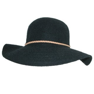 Callanan Women's Floppy Hat with Braided Faux Leather Hatband - One size