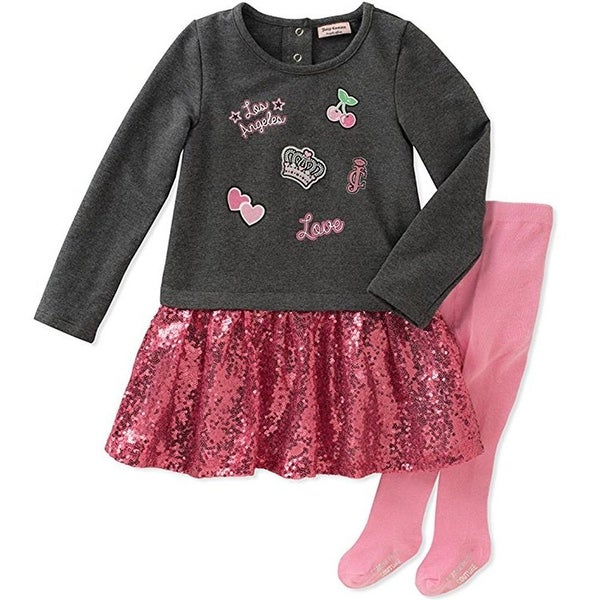 Juicy Couture Girls 2T-4T Patch Sequin Dress Tight Set