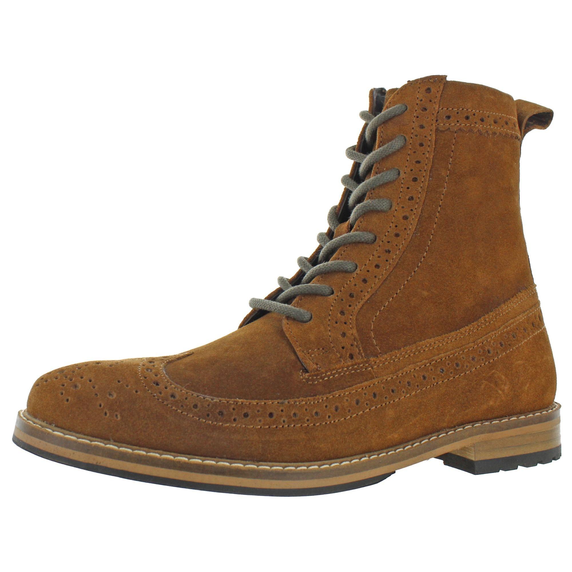 Memory Foam Wingtip Boots - Chestnut