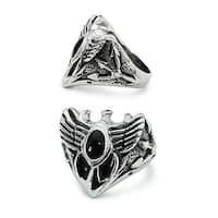 Stainless Steel Wings Ring with Oval Onyx Stone (Sizes 9-11)