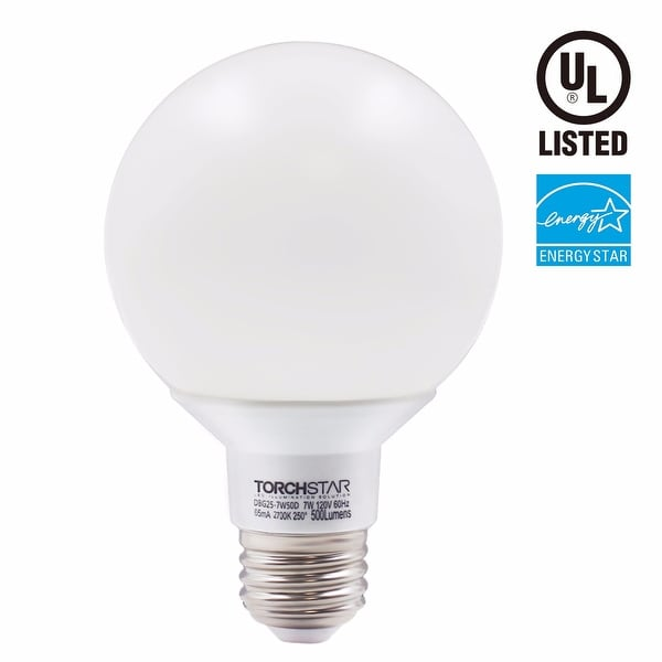1/3/6 PACK 7W Dimmable G25 LED Bulb, 2700k Soft White/5000K Daylight