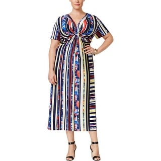NY Collection Womens Plus Casual Dress Matte Jersey Striped