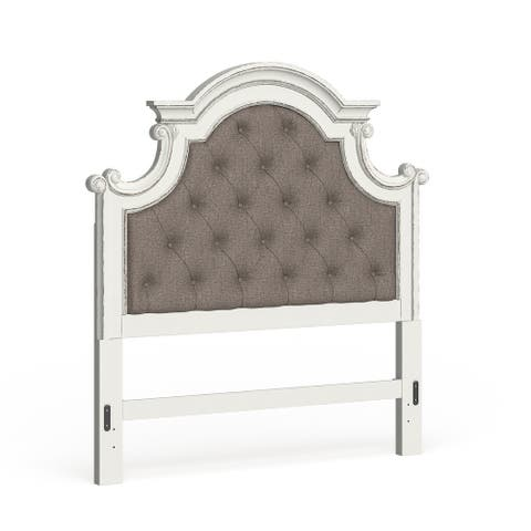 Magnolia Manor Antique White Queen Upholstered Panel Headboard