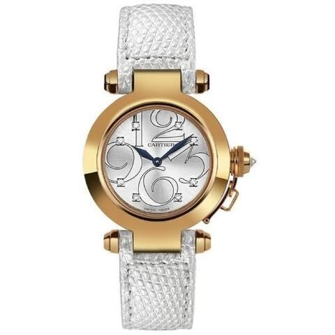 Cartier Women's WJ123021 'Pasha' Diamond White Leather Watch