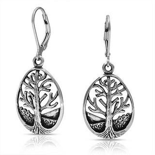 Bling Jewelry Sterling Silver Tear Drop Tree of Life Leverback Earrings
