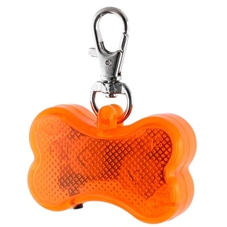 Pet Dog Plastic Bone Shape 3 Modes LED Flash Light Safety Pendant Orange