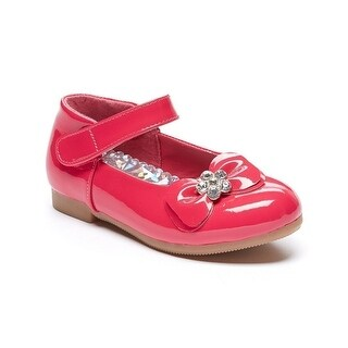 Little Girls Fuchsia Floral Rhinestone Bow Patent Mary Jane Flats 5-10 Toddler