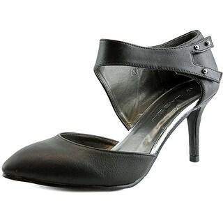 C Label Renee-2 Women Pointed Toe Leather Black Heels