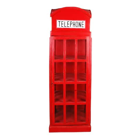 "71.25"" Red Sunset Trading Cottage English Phone Booth Cabinet"