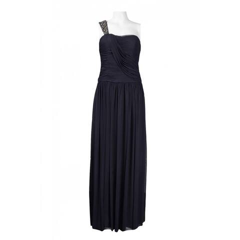 JS Collections Beaded Strap Draped Jersey Mesh Dress, Navy, 6