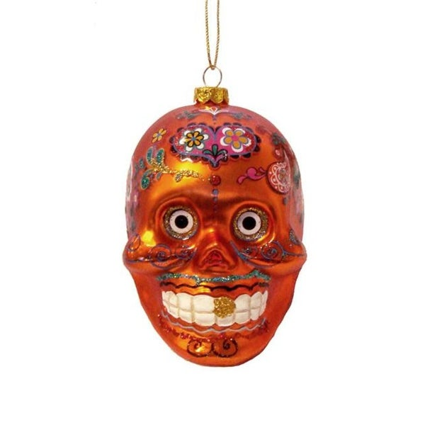 "4"" Day of the Dead Orange Glitter Embellished Skull Halloween Christmas Ornament"