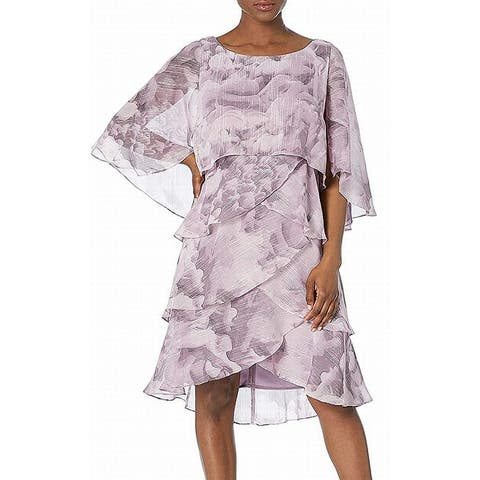 SLNY Womens Shift Dress Purple Size 14 Tiered Shimmer Capelet Floral