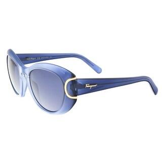 Salvatore Ferragamo SF818/S 450 Blue Gradient Oval Sunglasses - 54-21-140