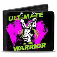 Ultimate Warrior Arms Up Pose Black Green Pink White Bi Fold Wallet - One Size Fits most