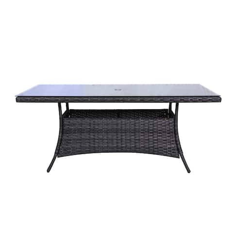 Bora Bora Outdoor Patio Wicker Rattan Dining Table with Glass Top