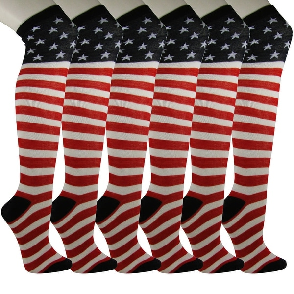 USA United States of America Flag Over Knee/Thigh High Socks [6 PAIRS]