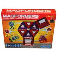Magformers Classic 30-Piece Magnetic Construction Set (Red & Purple) - Multi