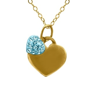 Crystaluxe Girl's Double Heart Pendant with Swarovski Crystals in 14K Gold-Plated Sterling Silver - Blue