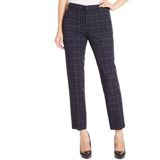 NYDJ Womens Cropped Pants Plaid Slimming Fit