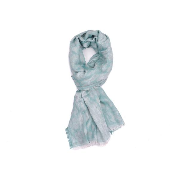 Roberto Cavalli Women X27 S Green Silver Cotton Animal Print Scarf