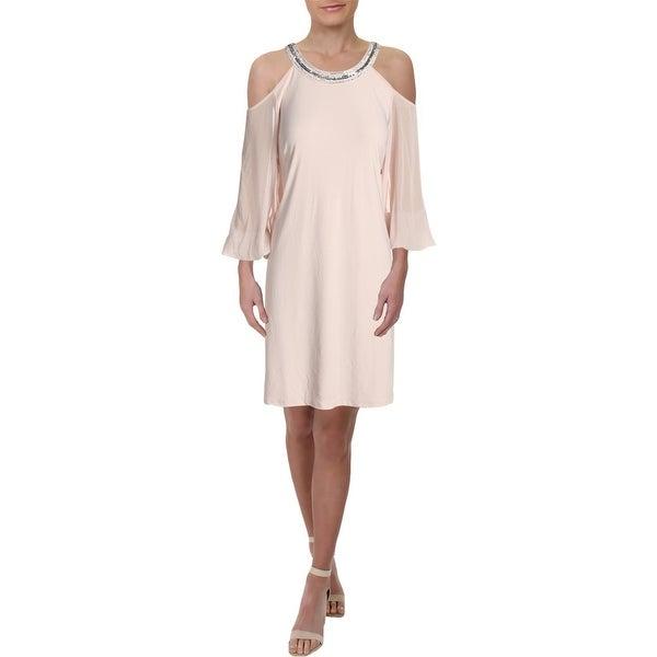 MSK Womens Cocktail Dress Cold Shoulder Embellished