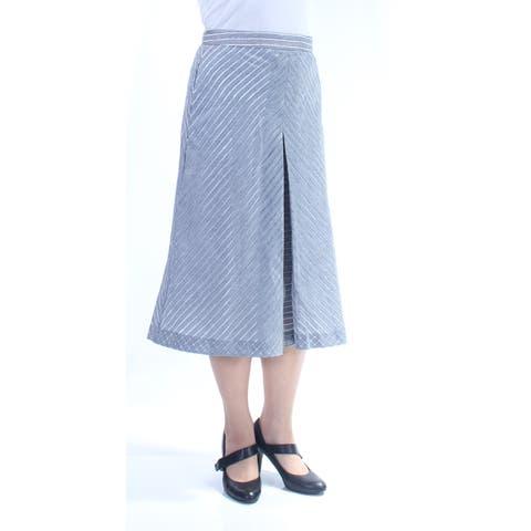 RACHEL ROY Womens Blue Striped Below The Knee A-Line Skirt Size: 8