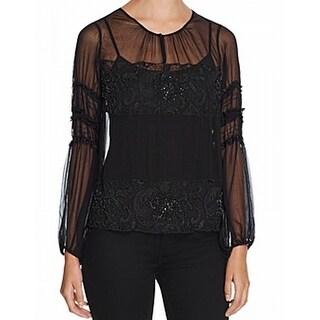 Elie Tahari NEW Black Womens Size Large L Embellished Sheer Blouse