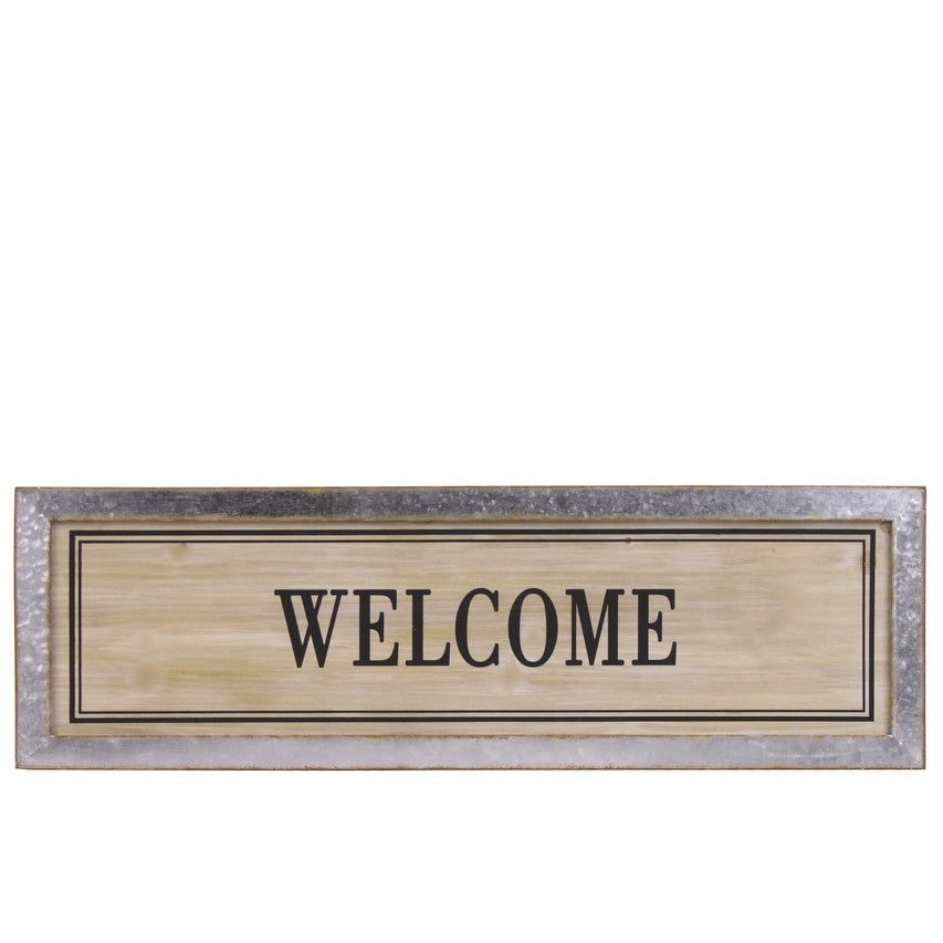 Wood Alphabet Decor Welcome On Metal Rust Effect Rectangular Edge, Brown