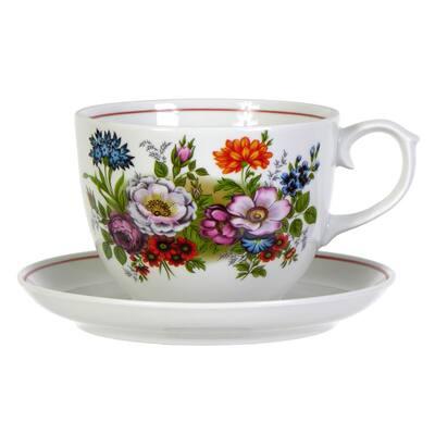 "STP Goods Bouquet of Flowers Porcelain Teacup and Saucer - 16.9 fl oz - 4.5"" x 3.5"""