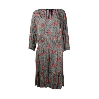 American Living Women's Peasant Print Casual Dress - sage multi