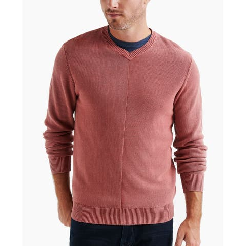 Lucky Brand Mens Sweater Pink Size 2XL Pullover Knit Solid V-Neck