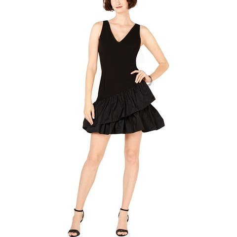 Vince Camuto Womens Scuba Dress Ruffled Sleeveless