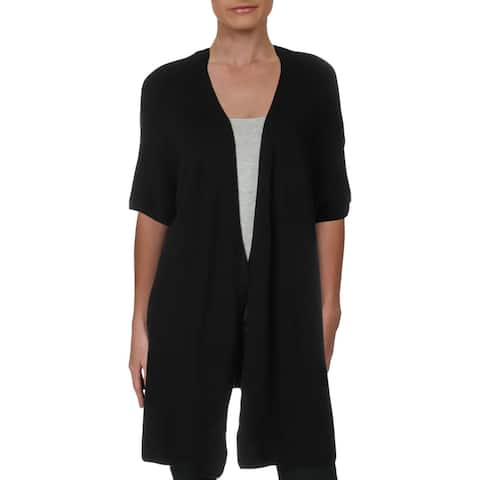Max Studio London Womens Juniors Duster Sweater Open Front Long - Black - 1