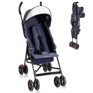 Costway Lightweight Umbrella Baby Stroller Toddler Travel Sun Canopy Storage Basket - Dark blue