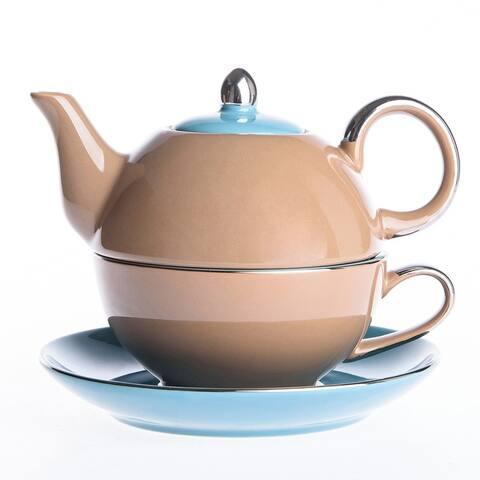 Artvigor Ceramic Teapot Set with Saucer Teacup Set
