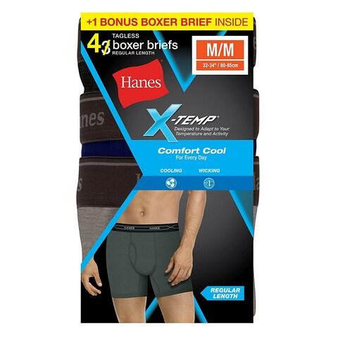 Hanes Men's X-Temp® Comfort Cool® Boxer Brief 4-Pack (Includes 1 Free Bonus Boxer Brief) - Size - L - Color - Assorted