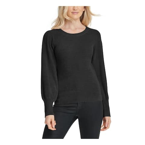 DKNY Womens Black Long Sleeve Jewel Neck Sweater Size L