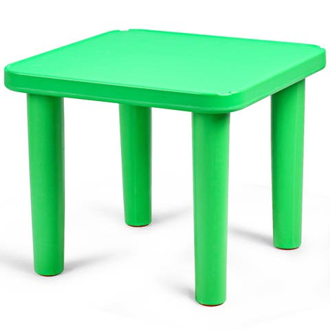 """Costway Kids Portable Plastic 24"""" Square Table Play&Learn Activity School Home Green New"""