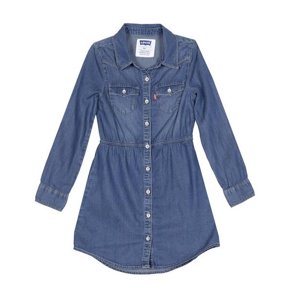 Levi's Girls Long Sleeve Woven Chambray Denim Button Shirt Dress Blue Winds