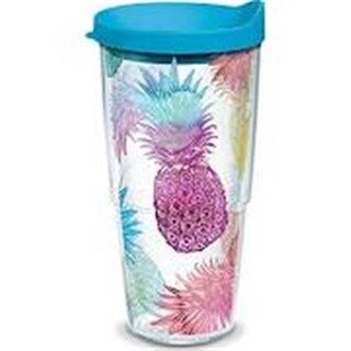 Tervis 24 oz Watercolor Pineapples Tumbler with Turquoise Lid