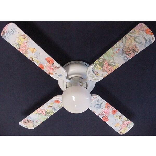 Magical Fairies Print Blades 42in Ceiling Fan Light Kit - Multi