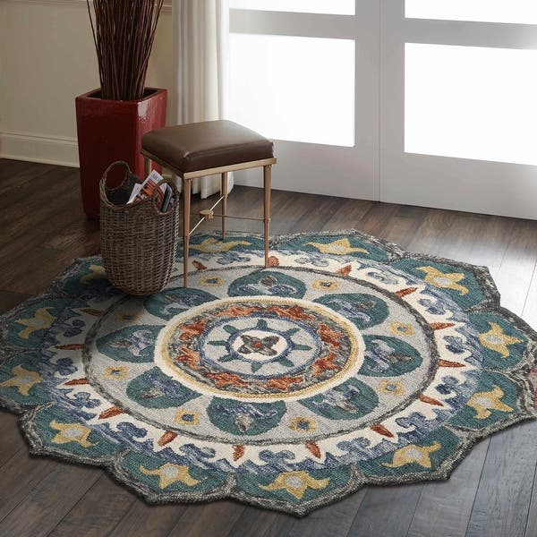 Lr Home Sinuous Eclectic Floral Mandala Area Rug Overstock 30143479 6 Round