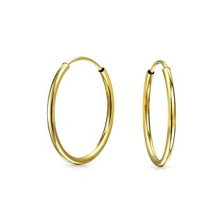 Bling Jewelry Thin Classic 14K Yellow Gold Endless Hoop Earrings 18mm