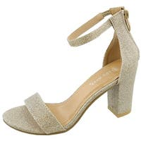 Top Moda Women's Hannah-1 Single Band Chunky/Block Heel Sandal With Ankle Strap and Zipper Closure