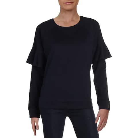 Lauren Ralph Lauren Womens Sweatshirt, Crew Ruffled Long Sleeve